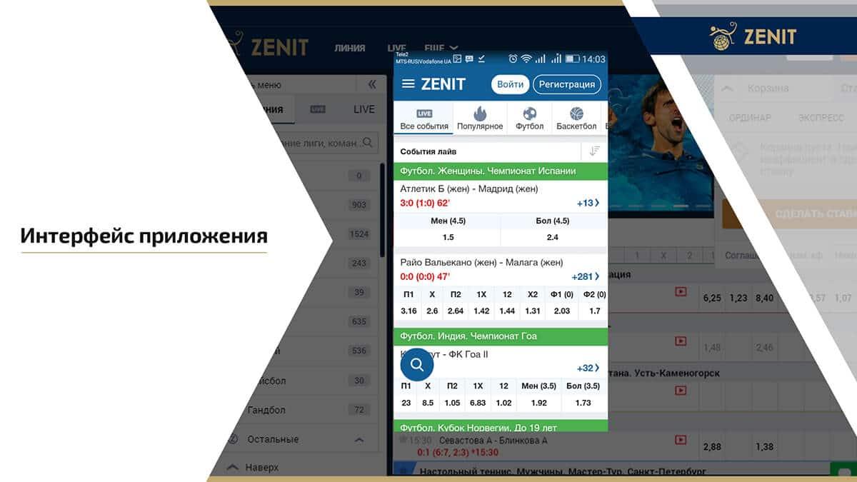 Интерфейс Zenitbet mobile
